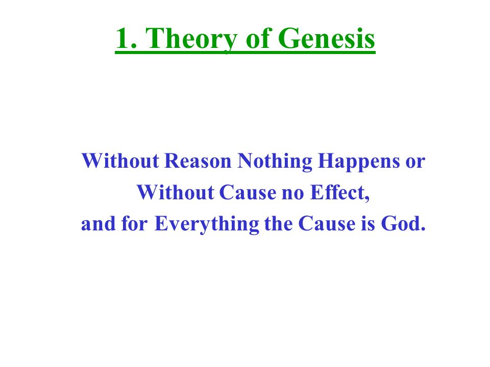 1. Theory of Genesis Without Reason Nothing Happens or