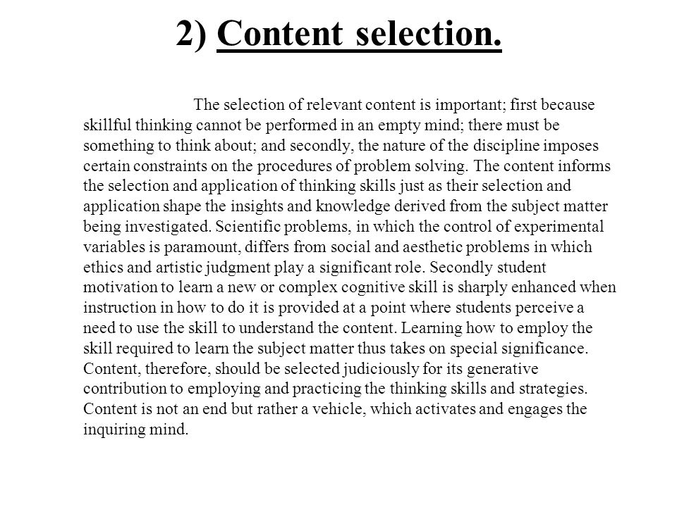 2) Content selection.