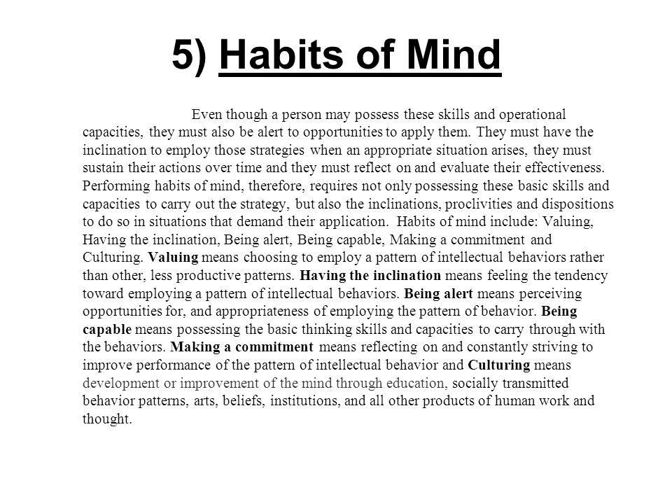 5) Habits of Mind