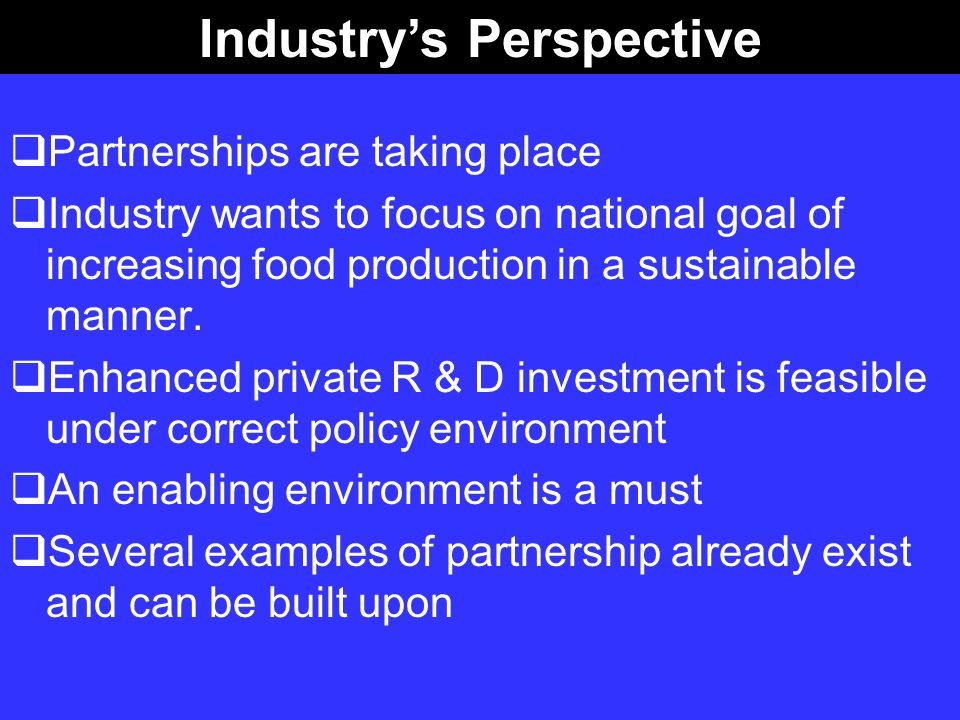 Industry's Perspective