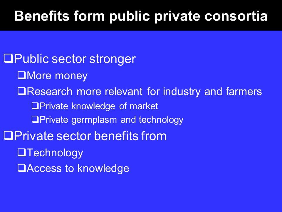 Benefits form public private consortia