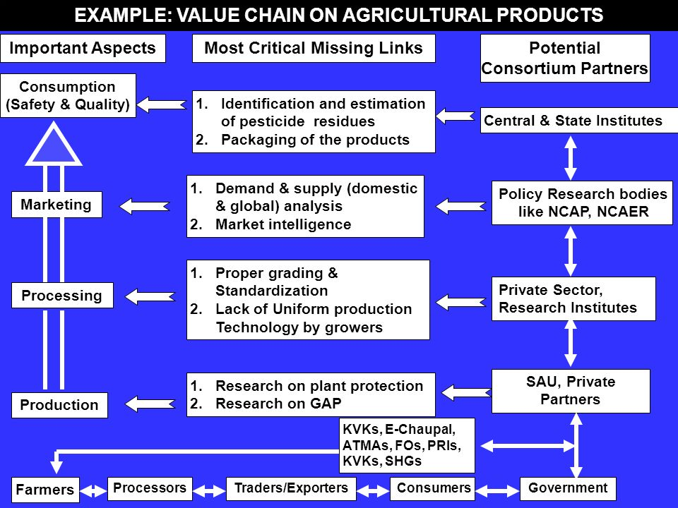 EXAMPLE: VALUE CHAIN ON AGRICULTURAL PRODUCTS