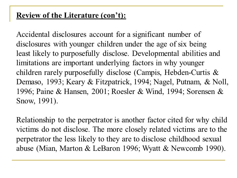 Review of the Literature (con't):