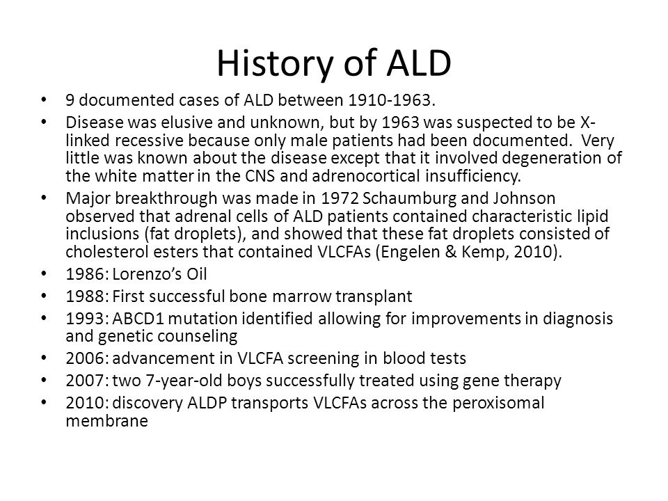 a description of adrenoleukodystrophy ald as a rare and genetic disorder The genetic defect: ald is a genetic disorder, meaning that there is a defect in one of the patient's genes genes are units of material contained in a person's.