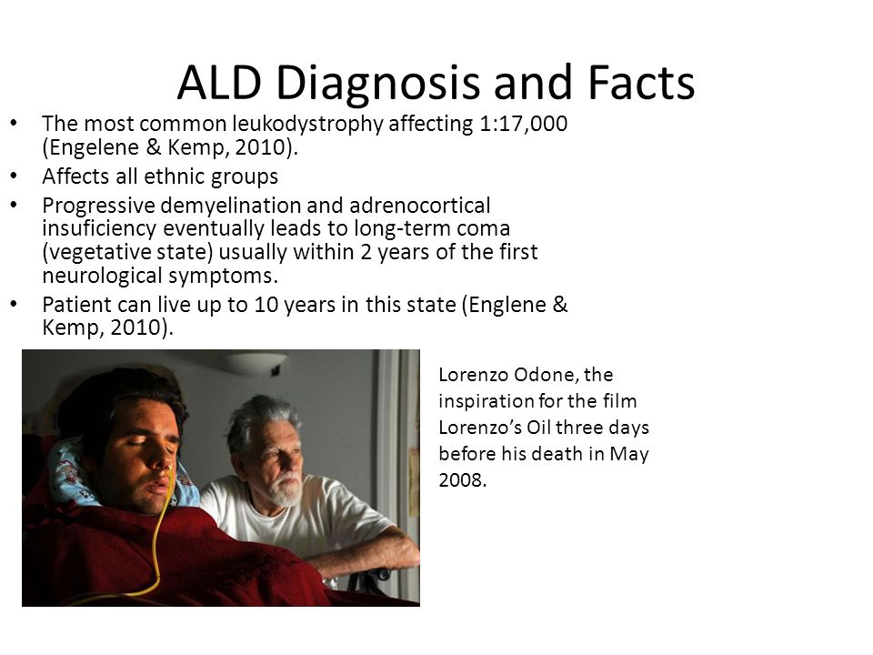 ald symptoms Leukodystrophy refers to a group of diseases that affect the central nervous system learn the causes, symptoms, and treatment options.