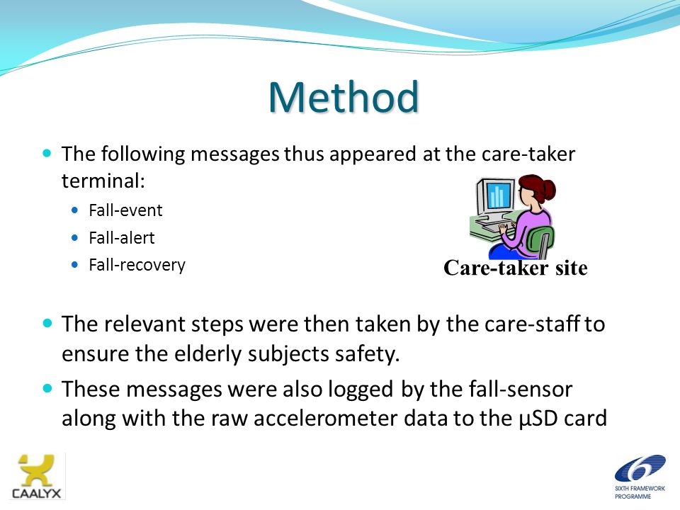 Method The following messages thus appeared at the care-taker terminal: Fall-event. Fall-alert. Fall-recovery.