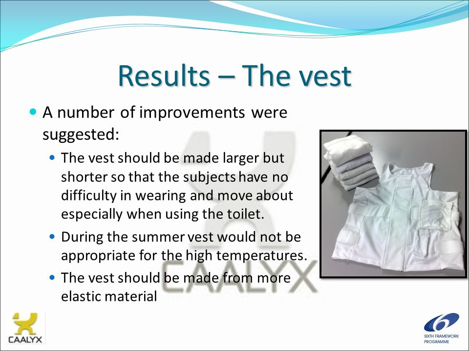 Results – The vest A number of improvements were suggested: