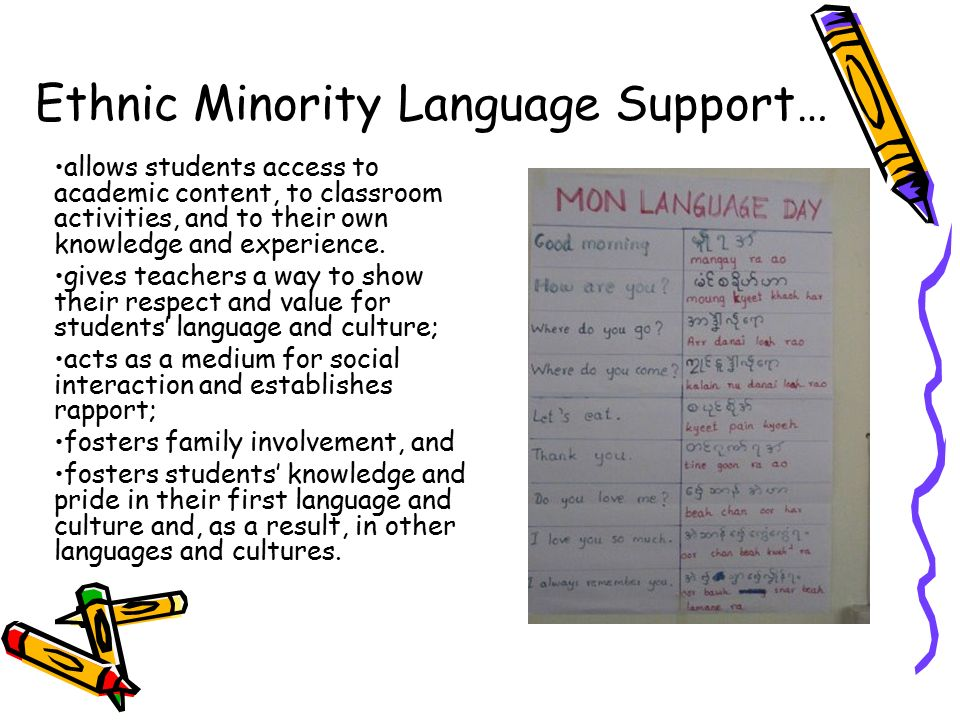 teaching speaking to ethnic minority students Most teachers related the promotion of race equality to working with minority  ethnic pupils race equality was often spoken of in terms of how well the school.