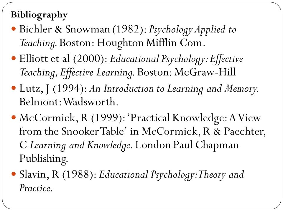 Slavin, R (1988): Educational Psychology: Theory and Practice.