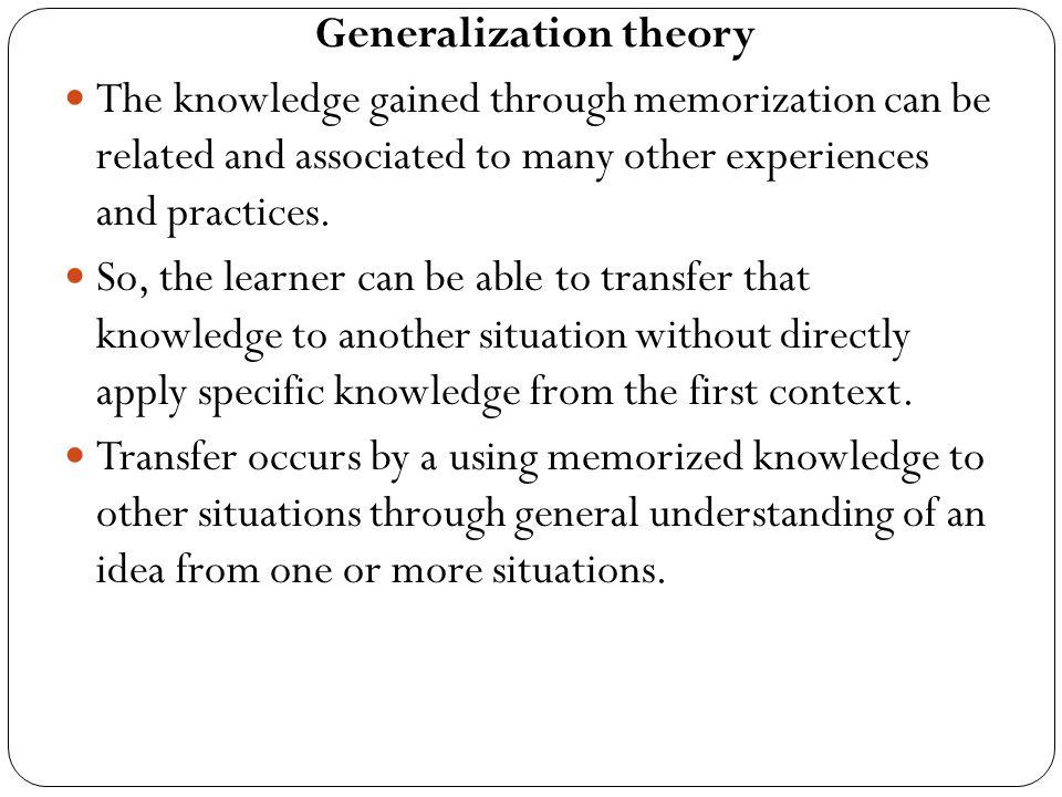 Generalization theory
