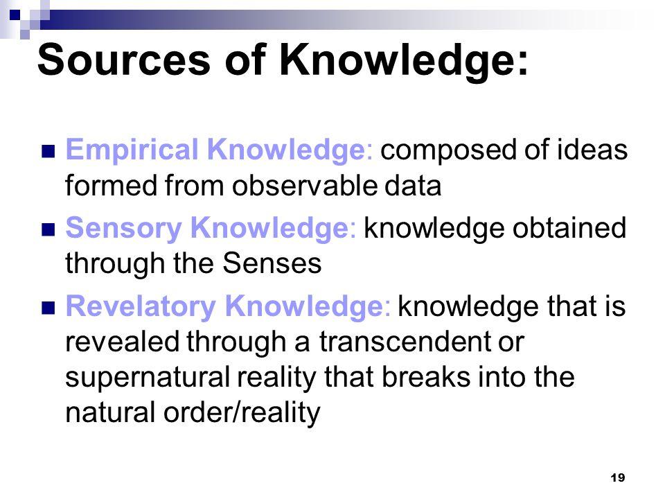 sources of knowledge Sources of knowledge - download as powerpoint presentation (ppt), pdf file (pdf), text file (txt) or view presentation slides online.