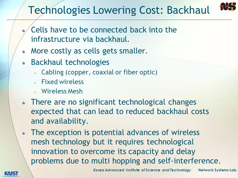 Technologies Lowering Cost: Backhaul