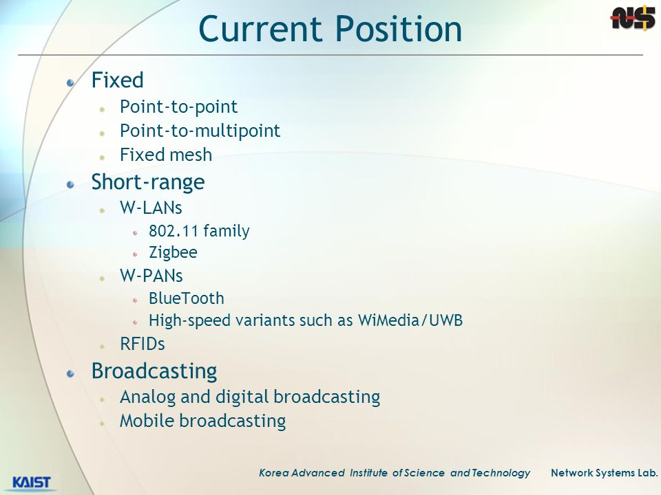 Current Position Fixed Short-range Broadcasting Point-to-point