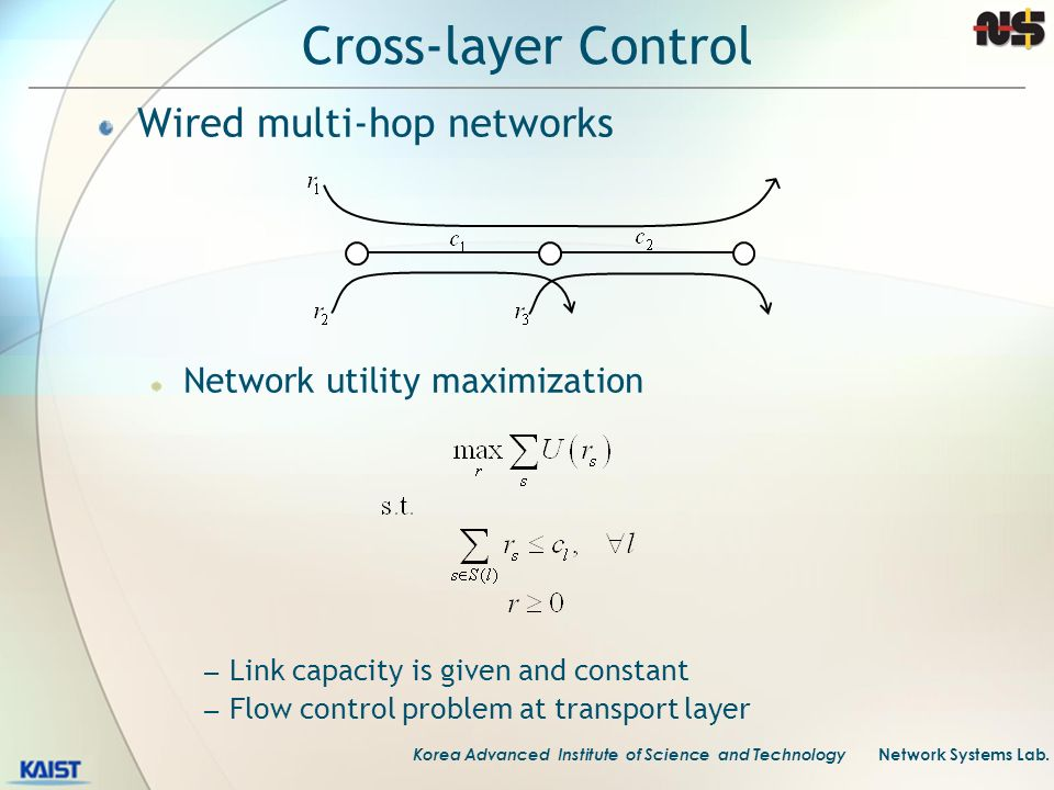 Cross-layer Control Wired multi-hop networks