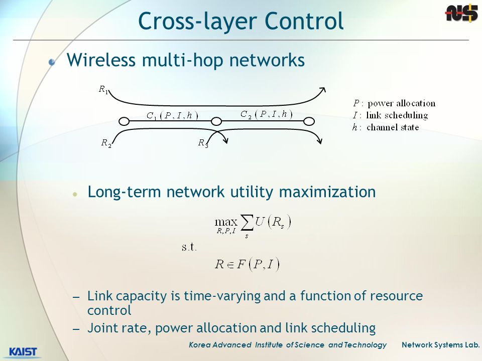 Cross-layer Control Wireless multi-hop networks