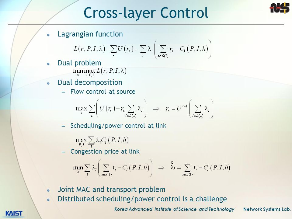 Cross-layer Control Lagrangian function Dual problem