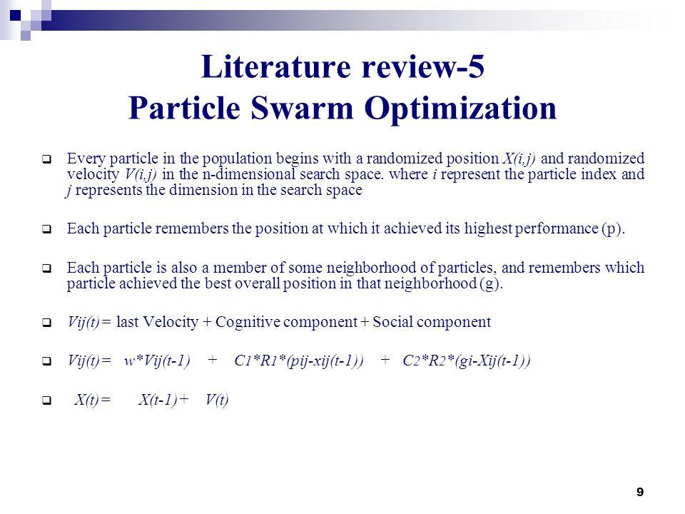 Literature review-5 Particle Swarm Optimization