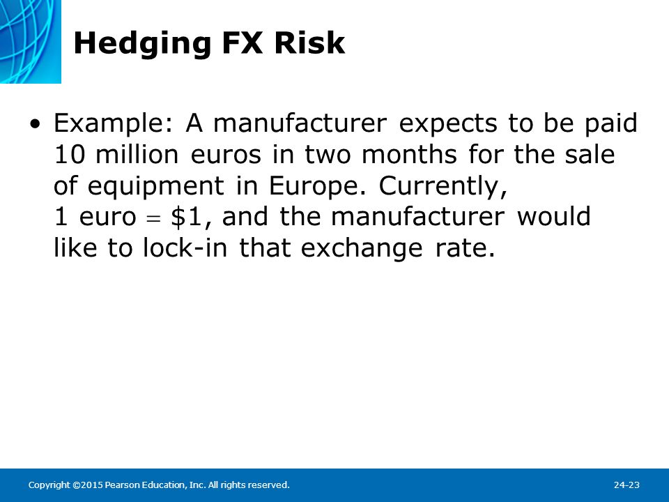 Hedging FX Risk The manufacturer can use the FX futures market to accomplish this: