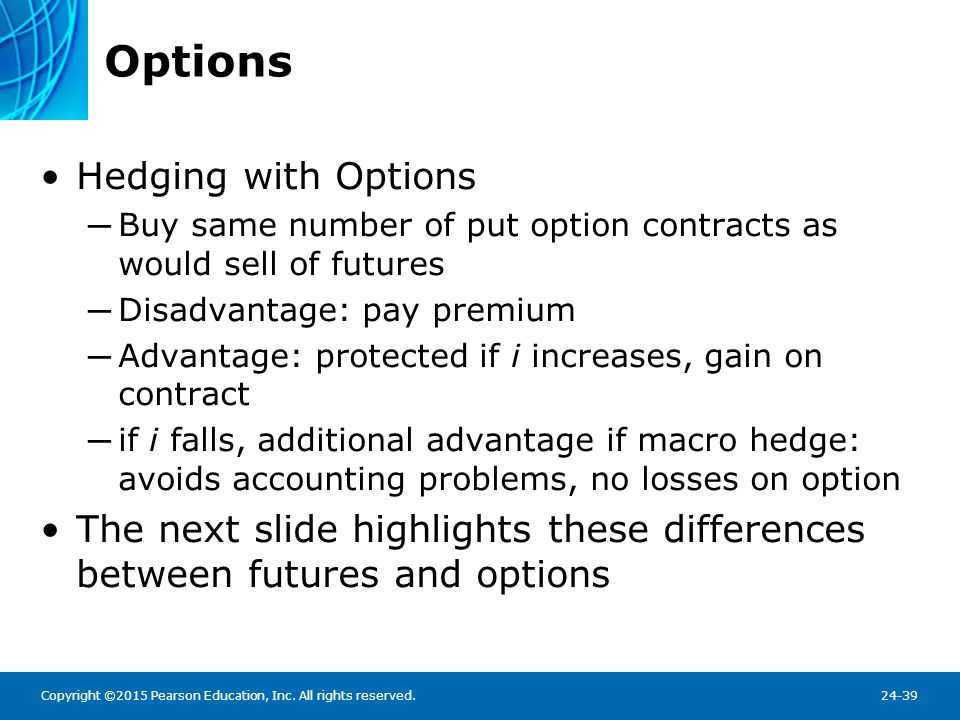 Options vs Futures Figure 24.1 Profits and Losses on Options Versus Futures Contracts