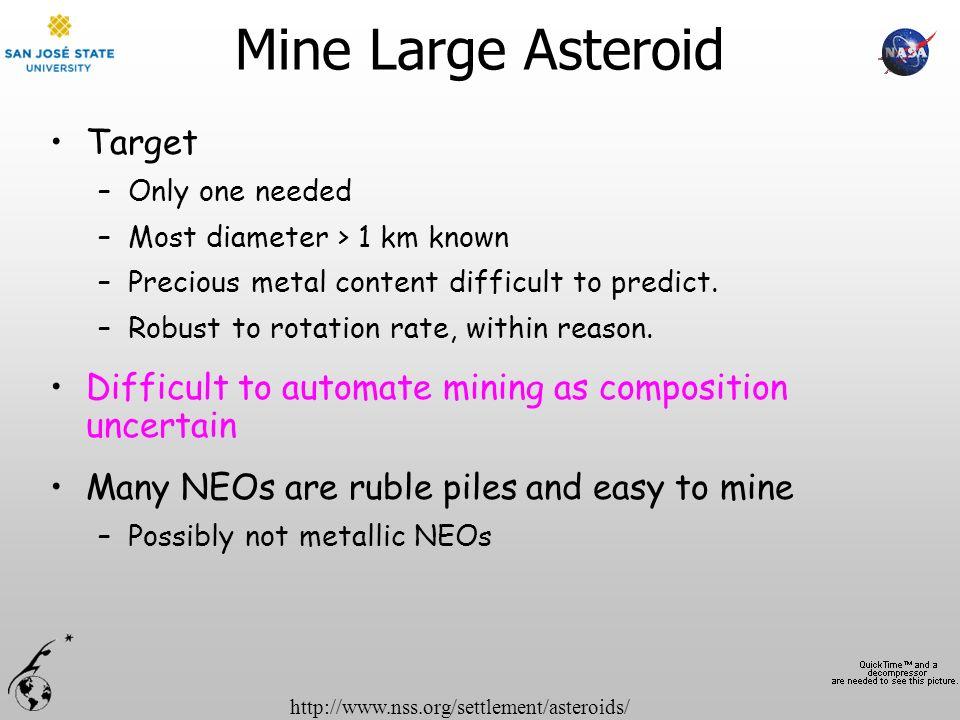 Mine Large Asteroid Target