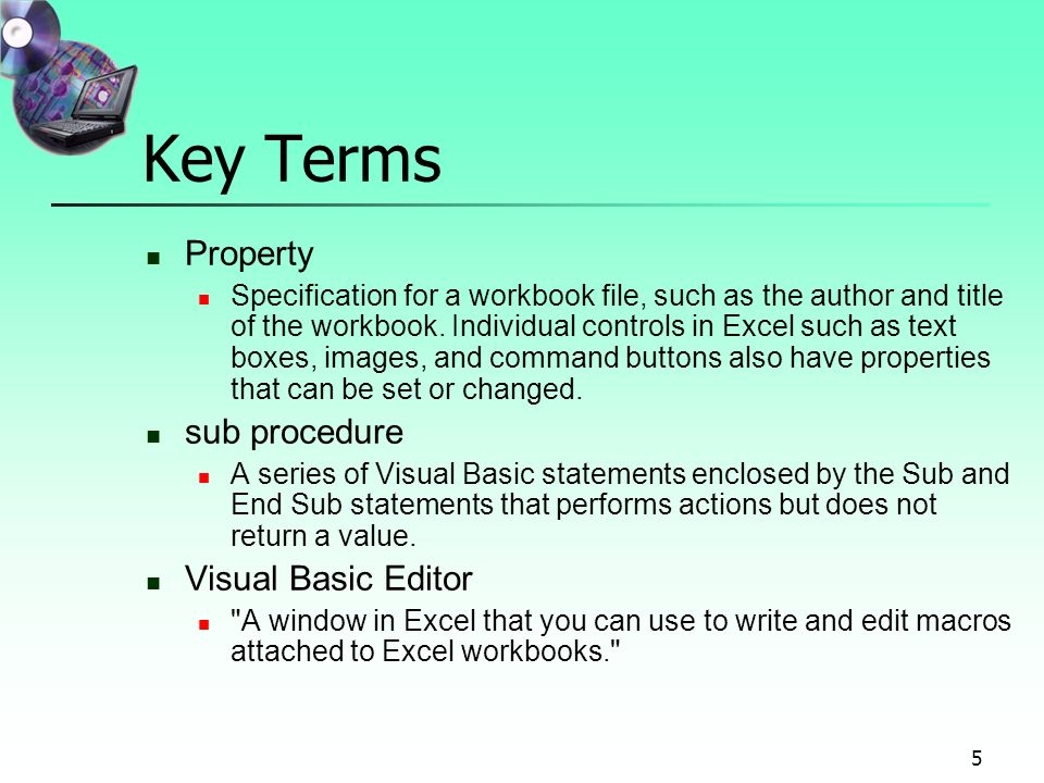 visual basic terms Visual basic visual basic is a programming language and development environment created by microsoft it is an extension of the basic programming language that combines basic functions and commands with visual controls.