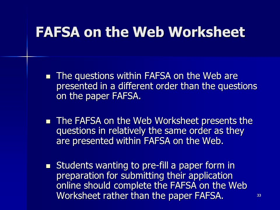 Financial Aid Workshop ppt download – Fafsa on the Web Worksheet
