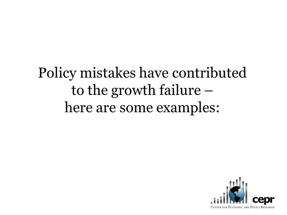 Policy mistakes have contributed to the growth failure – here are some examples:
