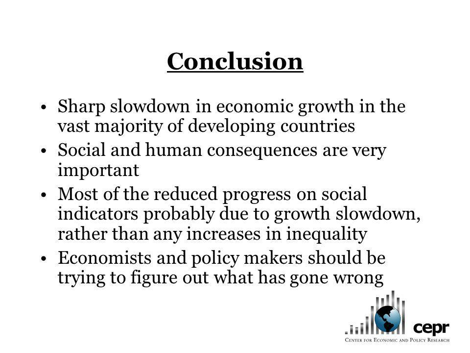 Conclusion Sharp slowdown in economic growth in the vast majority of developing countries. Social and human consequences are very important.