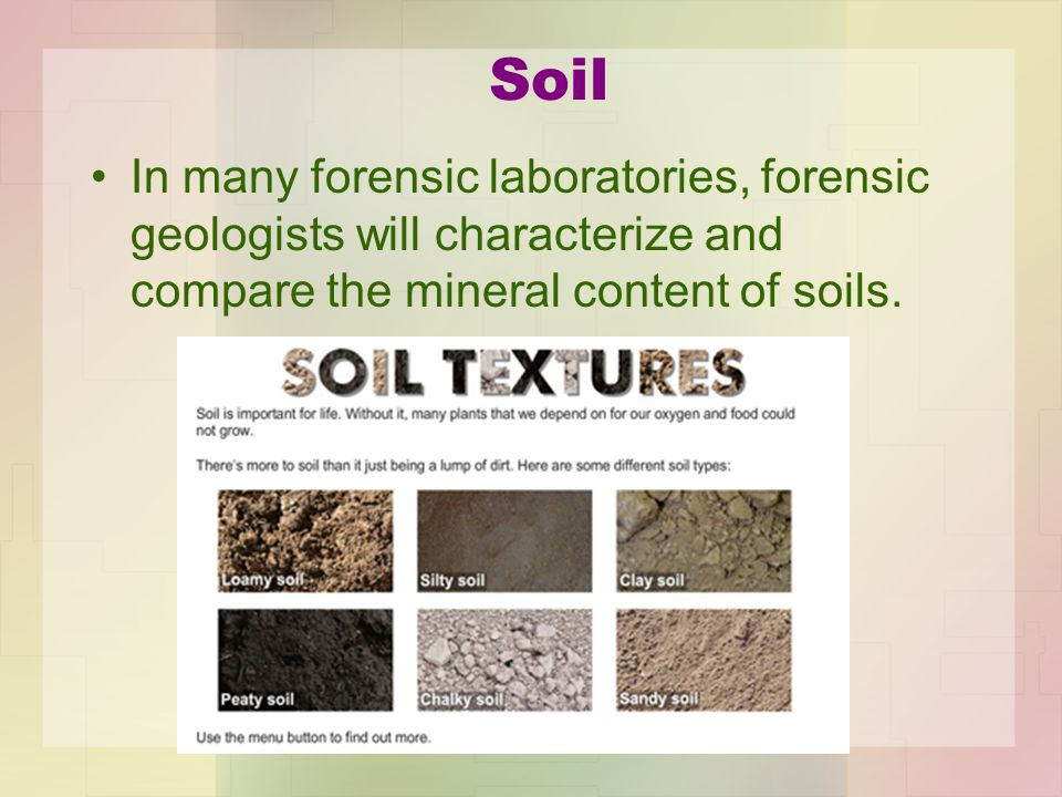 Cases involving soil evidence ppt video online download for Soil mineral content