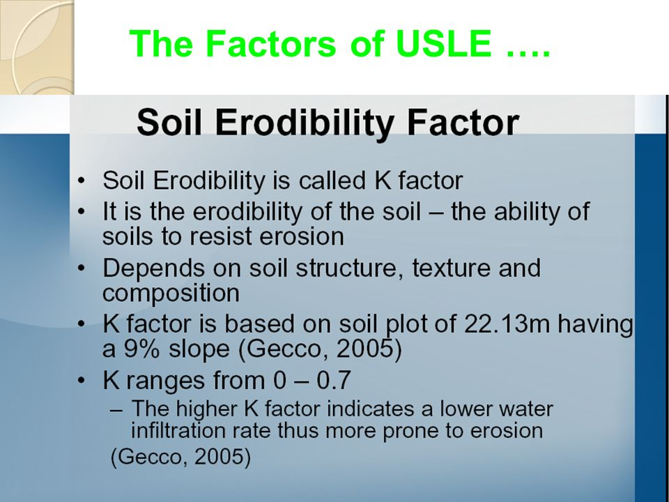 Introduction soil erosion research is a capital intensive for Soil k factor