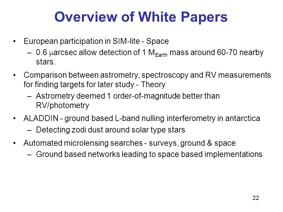 Overview of White Papers
