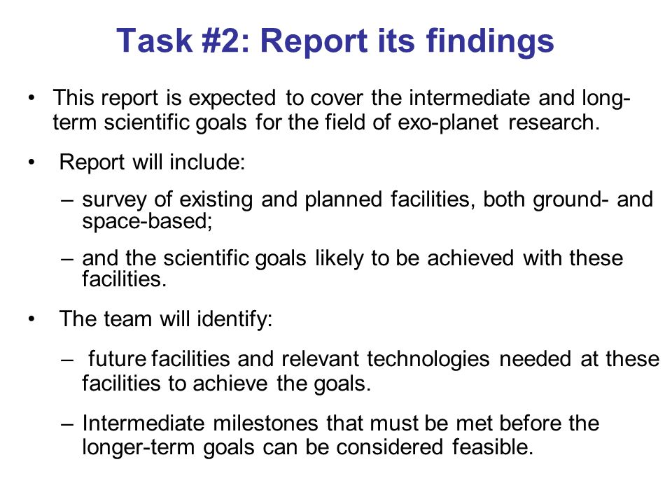 Task #2: Report its findings