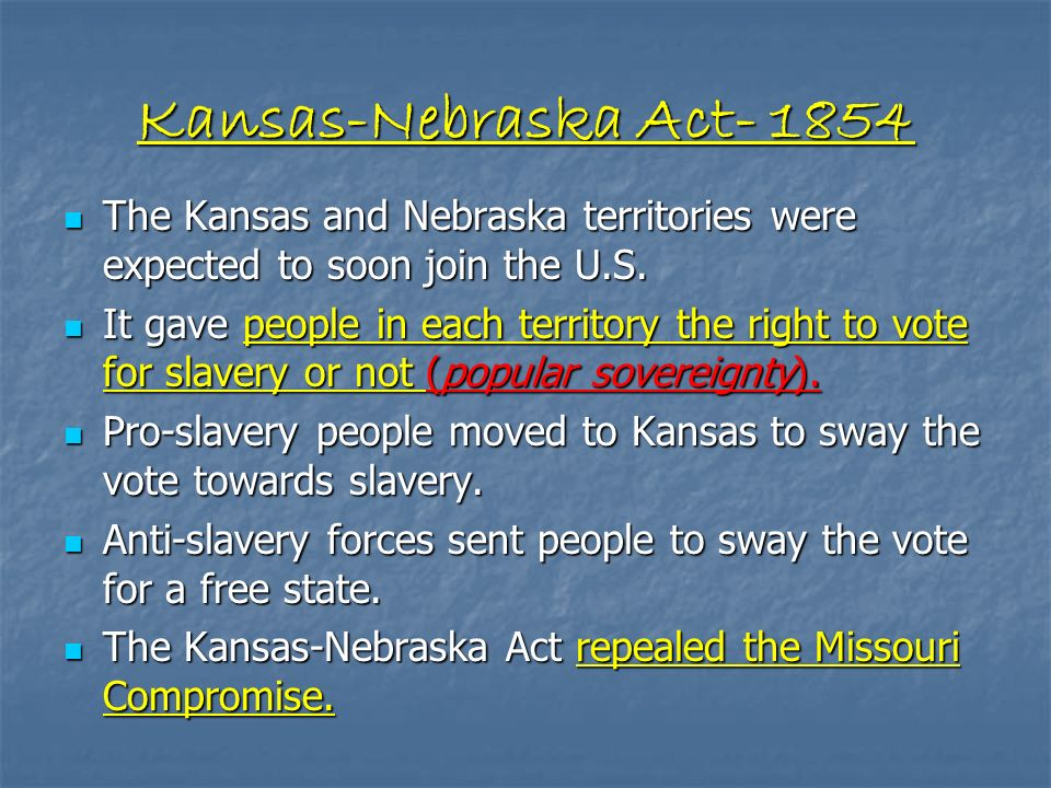 The KansasNebraska Act Was Passed By The US Congress On May 30 A