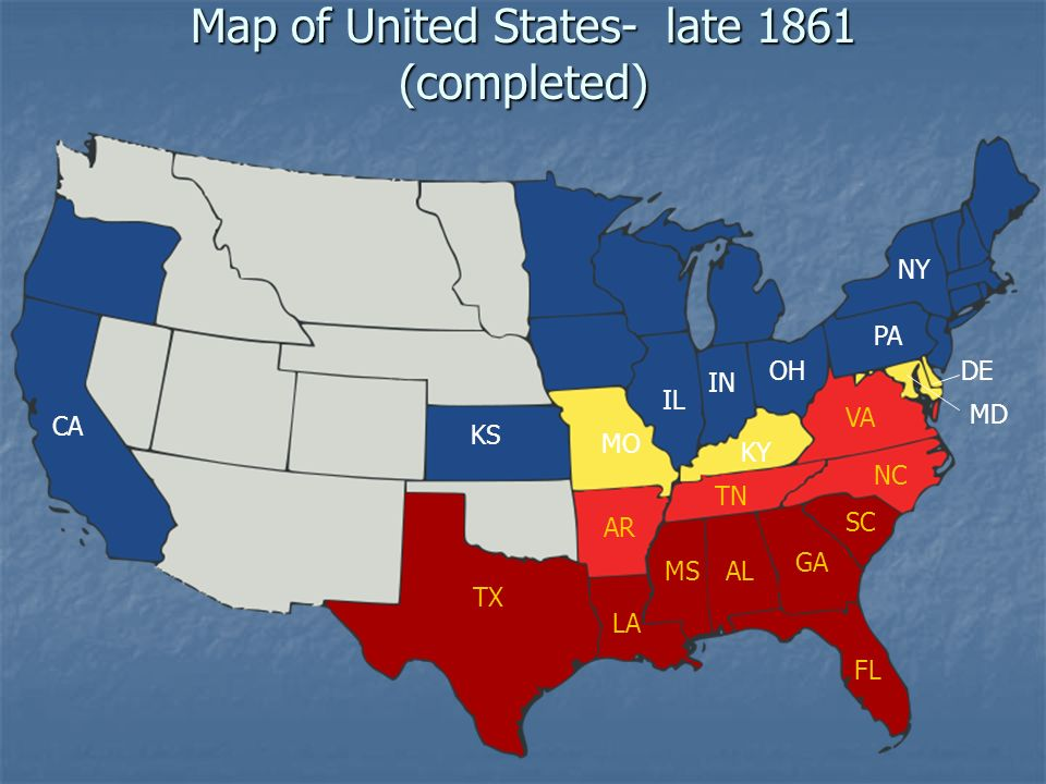 Events That Lead To The Civil War Ppt Video Online Download - Us map in 1861