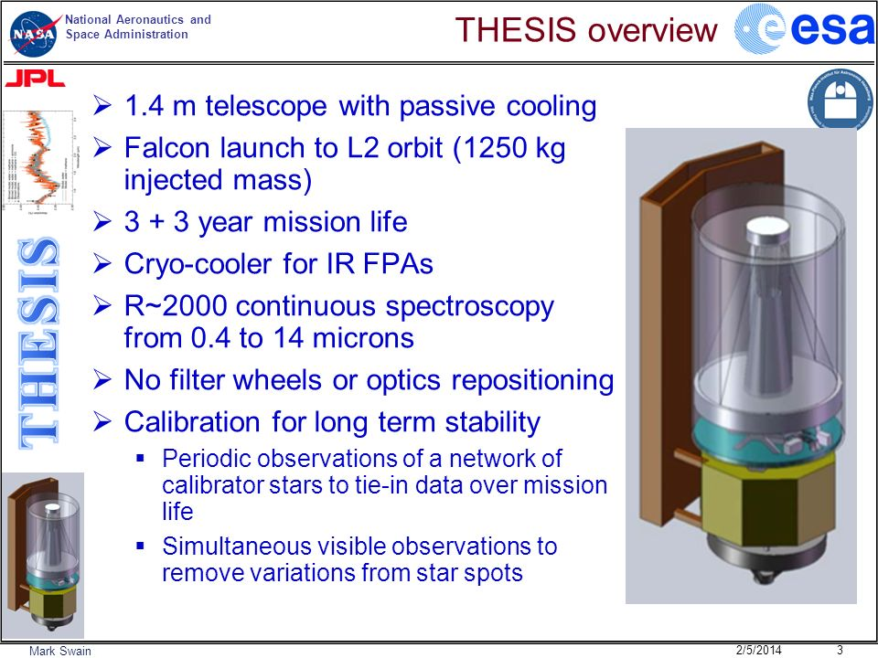 THESIS overview 1.4 m telescope with passive cooling