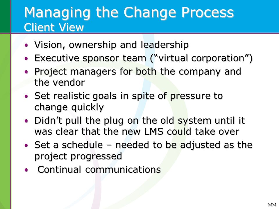 Managing the Change Process Client View