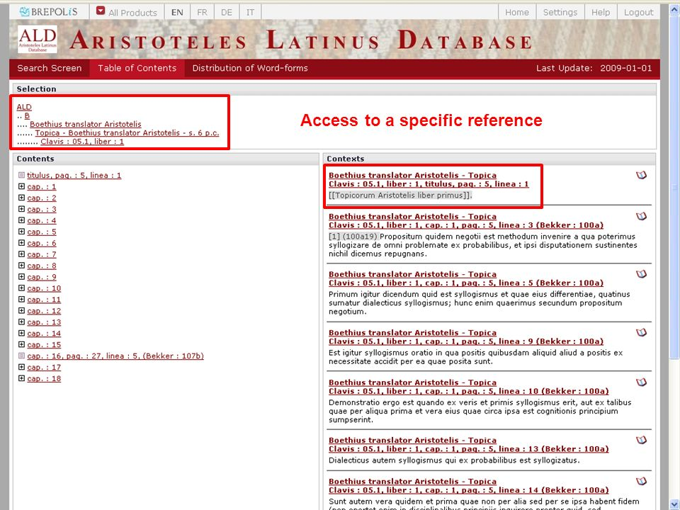 Access to a specific reference
