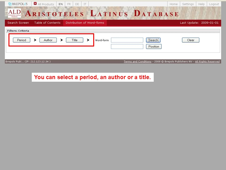 You can select a period, an author or a title.