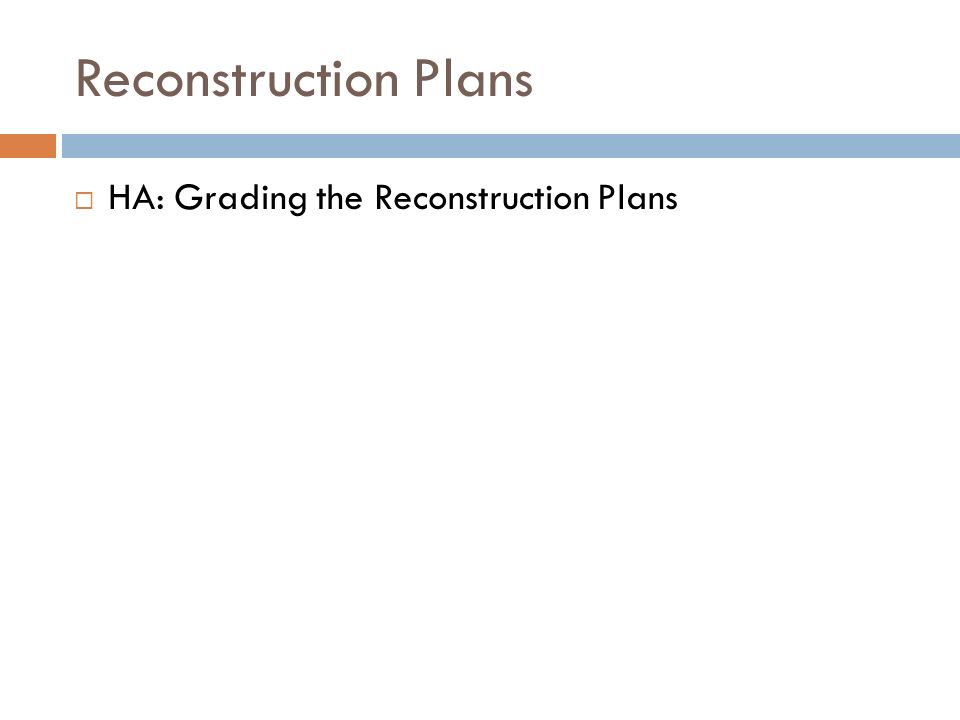 Reconstruction Plans HA: Grading the Reconstruction Plans