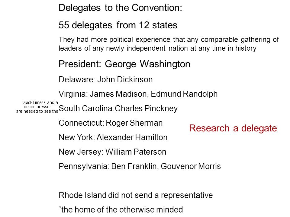 Delegates to the Convention: 55 delegates from 12 states