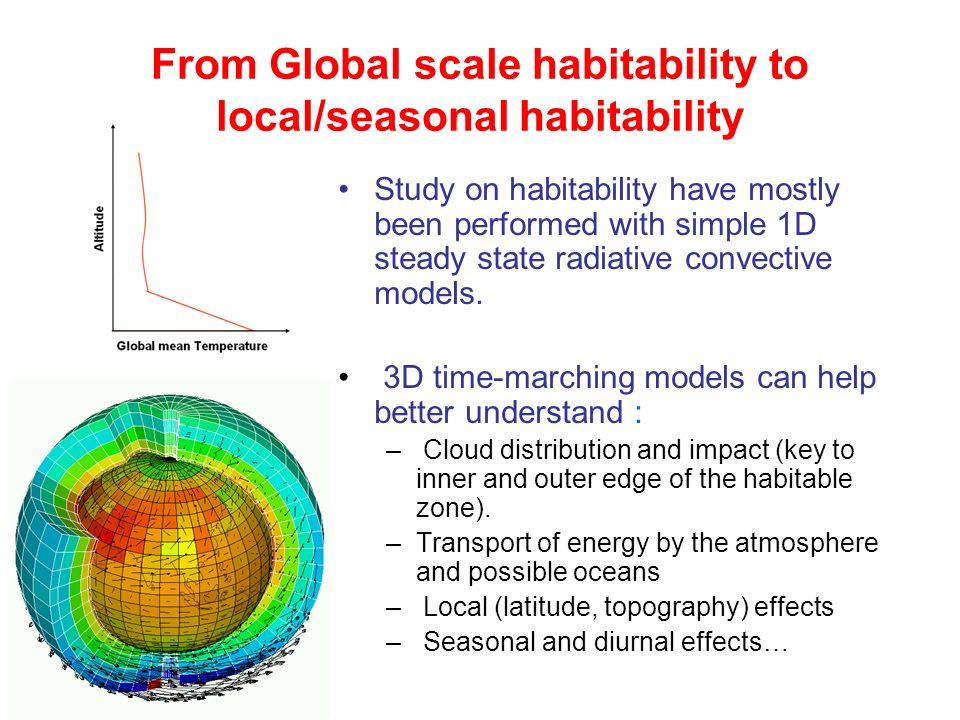 From Global scale habitability to local/seasonal habitability