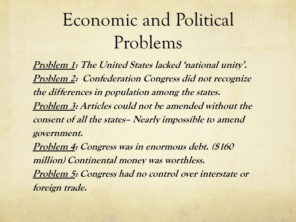 Economic and Political Problems