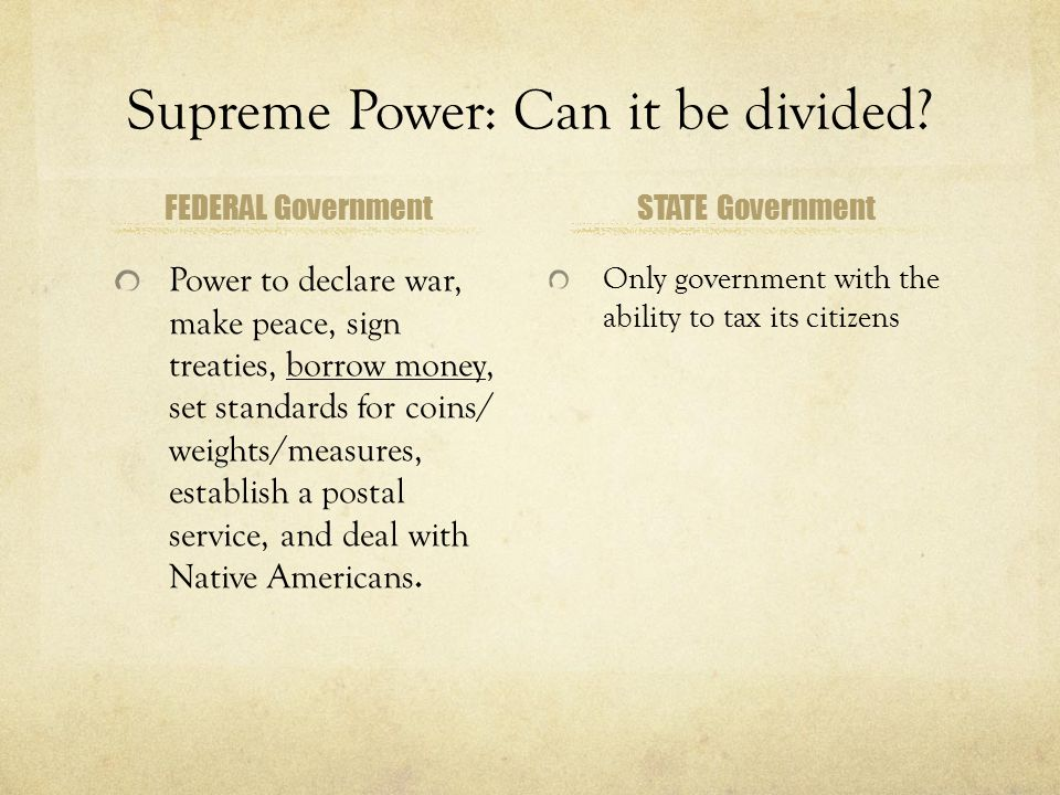 Supreme Power: Can it be divided