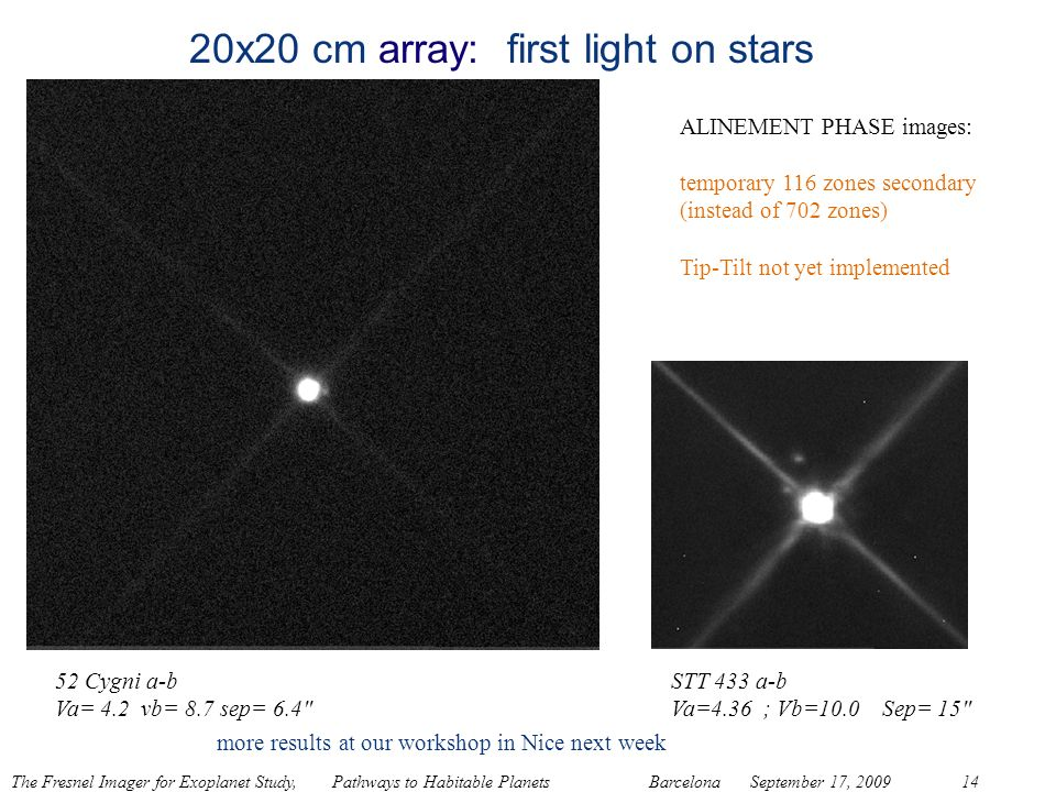 20x20 cm array: first light on stars