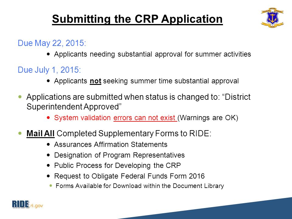 2016 CRP Application Roll-Out - ppt download