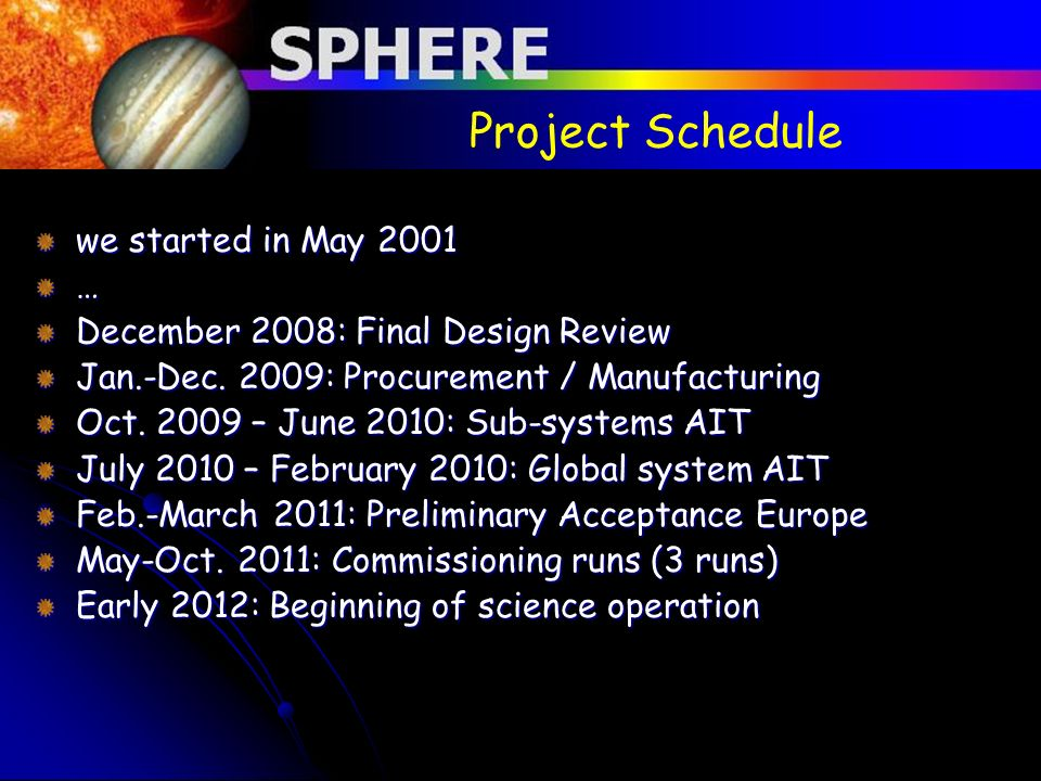Project Schedule we started in May 2001 …