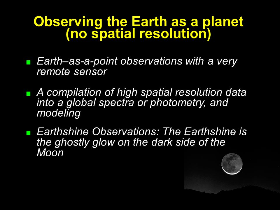 Observing the Earth as a planet (no spatial resolution)