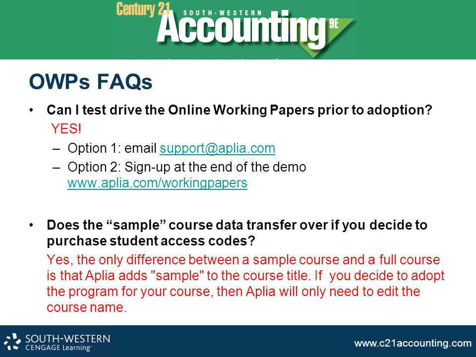 educating students for success ppt video online  owps faqs can i test drive the online working papers prior to adoption yes option