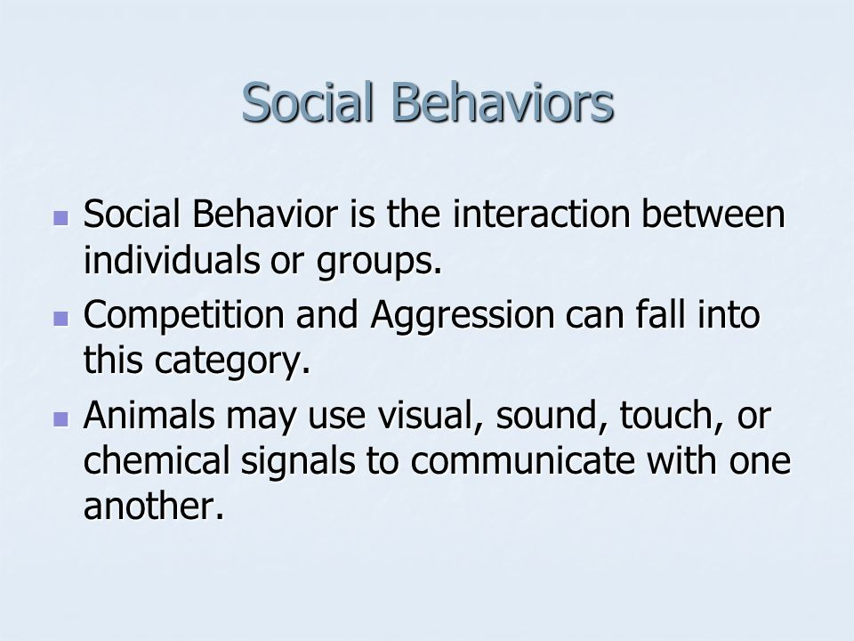 Social Behaviors Social Behavior is the interaction between individuals or groups. Competition and Aggression can fall into this category.