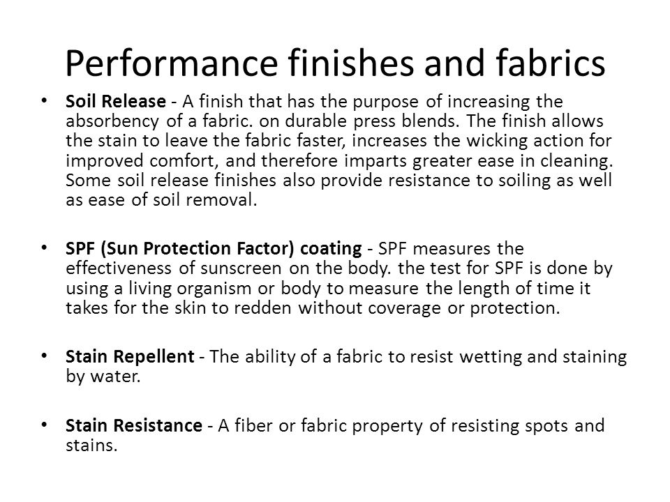 Performance finishes and fabrics
